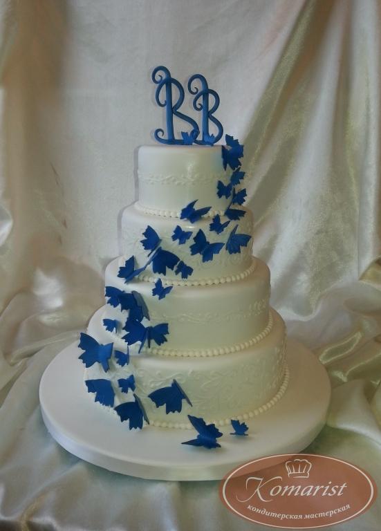 Свадебный торт с бабочками-фото